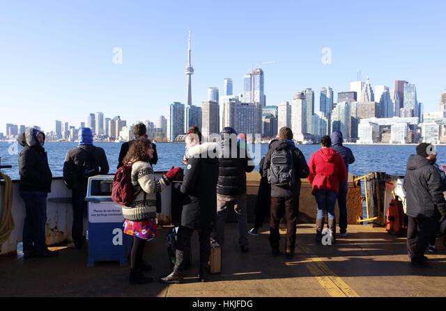 Tourists on ferry to Ward Island Toronto 2016 - Stock Image