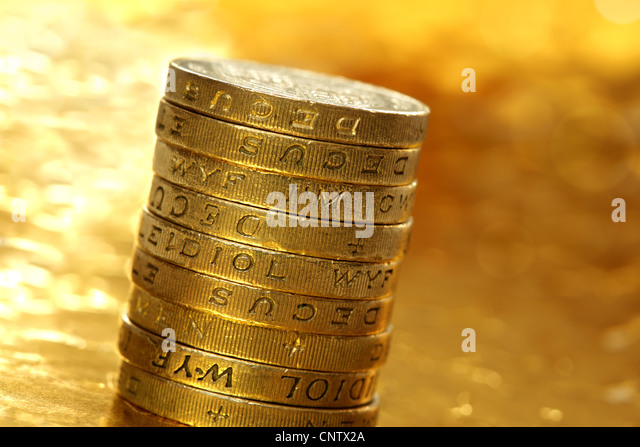 One pound coins - Stock Image