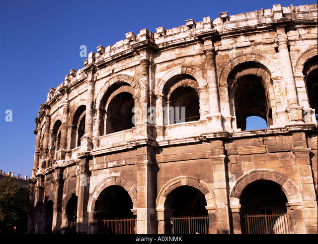 Roman arena Nimes Gard Languedoc Roussillon France Europe - Stock Image