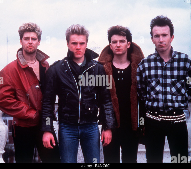 U2 pop group Bono Paul David Hewson The Edge Dave Evans Adam Clayton and Larry Mullen - Stock Image
