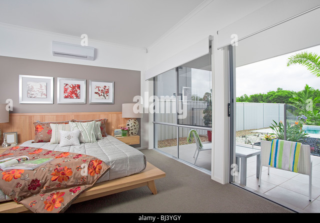 master bedroom in modern townhouse - Stock Image
