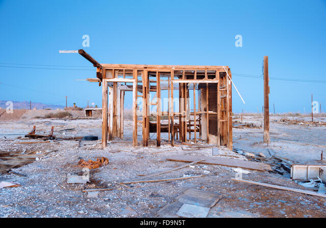 The remains of a building in Bombay Beach, California, on the eastern shore of the Salton Sea - Stock Image