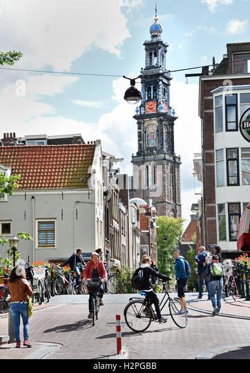 Eerste Leliedwarsstraat - Westerkerk Jordaan  Amsterdam The Netherlands - Stock Image