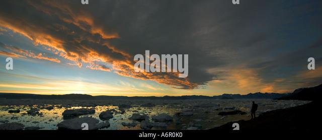 Sunset at Paornakajît, Sermilik Fjord, East Greenland - Stock Image