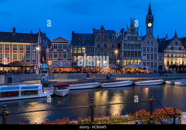 The Graslei (Grass Quay) in the city of Ghent in Belgium. This part of the medieval port is now the cultural and - Stock Image