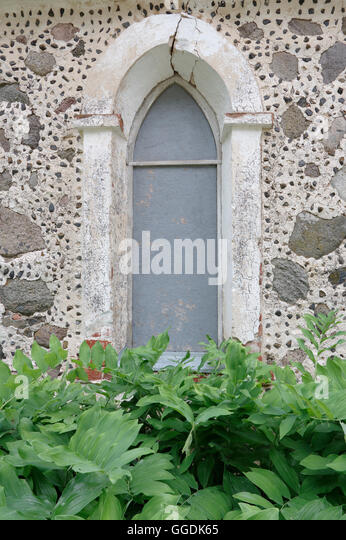 Window. Rujiena St. Bartholomew`s Church was built approximately 1259-1263. Rujiena, Vidzeme. Latvia - Stock Image