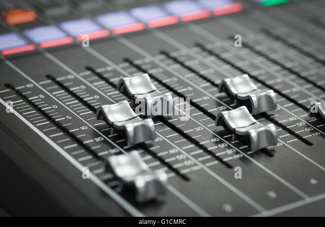 A professional audio mixer at a TV production - Stock-Bilder