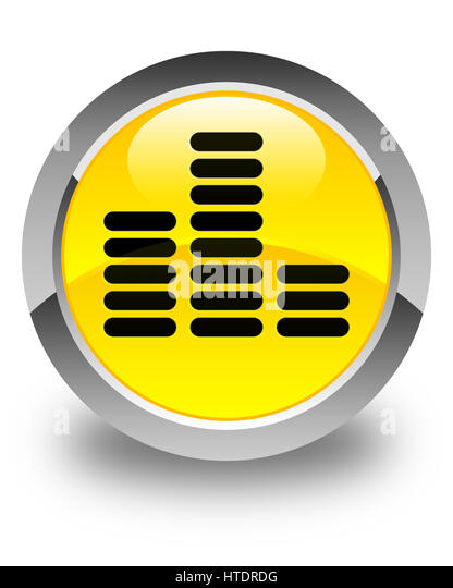 Equalizer icon isolated on glossy yellow round button abstract illustration - Stock-Bilder