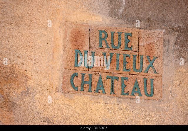 sign in the Old Town of Menton, Cote d'Azur, Provence, France - Stock Image