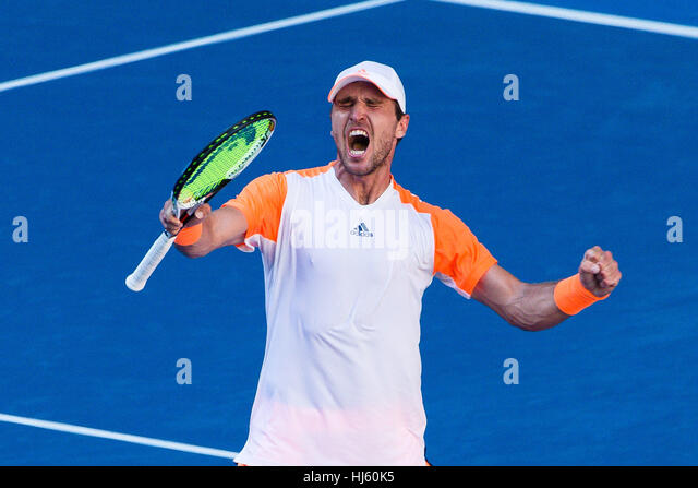 Mischa Zverev of Germany ousts world number one Andy Murray during the 2017 Tennis Australian Open at Melbourne - Stock Image