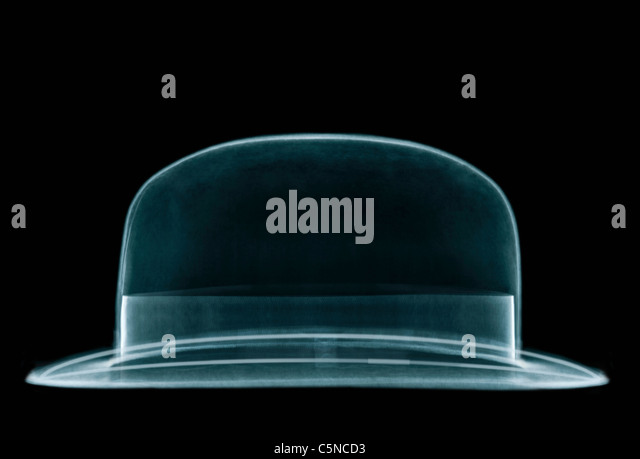 An x-ray of a bowler hat - Stock Image