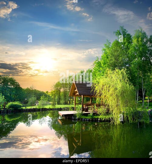 Arbour in birches near the pond at sunset - Stock Image