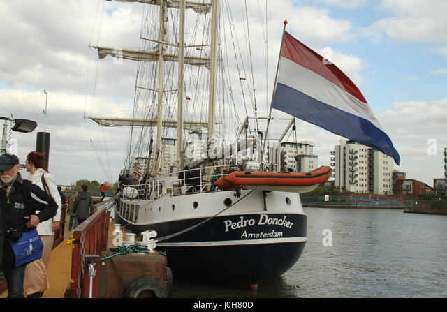 London, United Kingdom - April​ ​13: The Pedro Doncker seen docked at Woolwich Arsenal Pier during the 2017 Regatta. - Stock Image