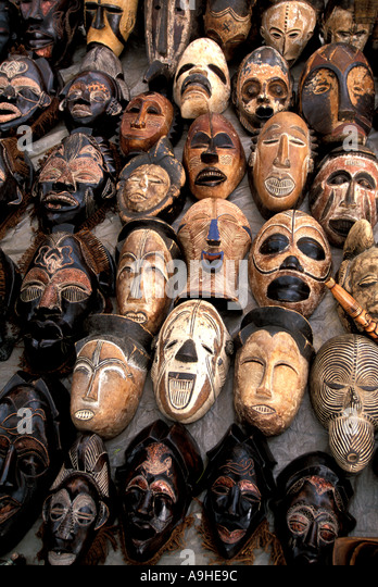 South Africa Masks on Display - Stock Image