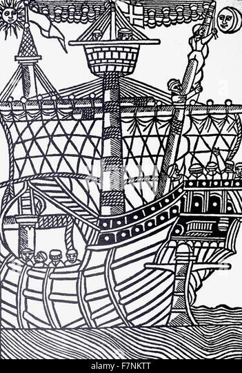 Christopher Columbus landing in the Americas, 1494 - Stock-Bilder