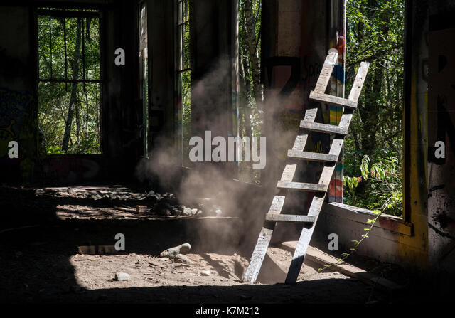 Wooden Ladder at Abandoned Power Station near Jordan River, Vancouver Island, British Columbia, Canada - Stock Image