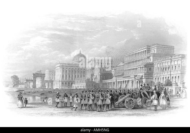 Esplanade Calcutta India 1860 British troop cannon Raj parading government building soldier military east eastern - Stock Image