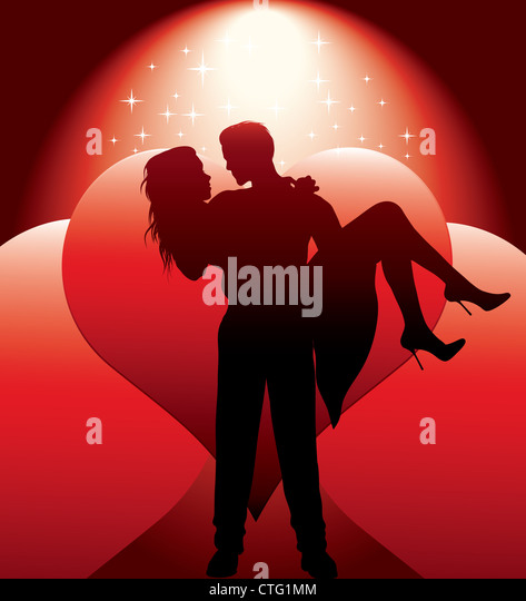 couple silhouette with hearts vector illustration - Stock Image