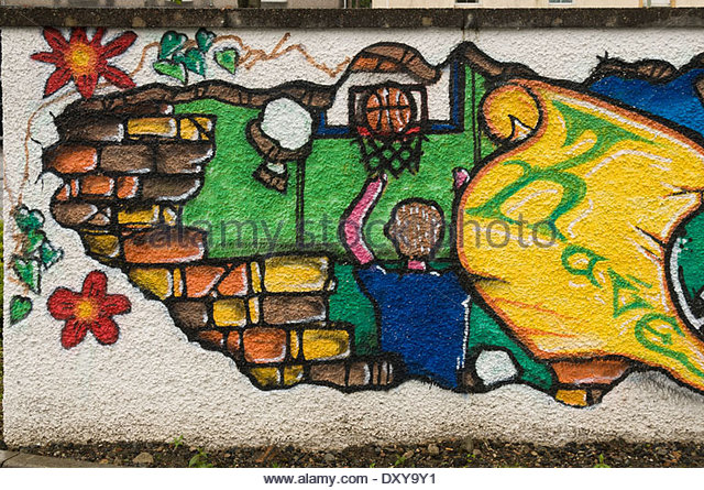 Detail from a wall mural near the Bayhead Bridge Centre, Stornoway, Lewis, Western Isles, Scotland, UK. - Stock Image