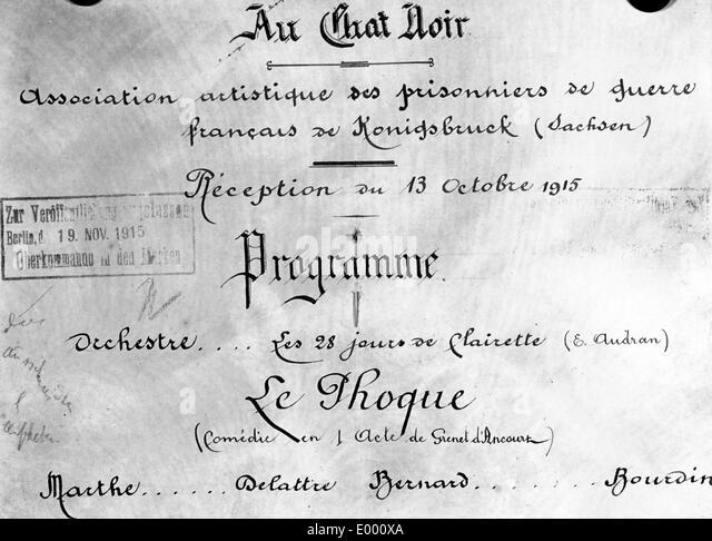 Artistic association of French prisoners, 1915 - Stock-Bilder