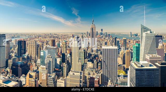 Manhattan aerial view - Stock Image