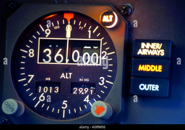 Altimeter Instrument and Marker Lights in Boeing 757 aircraft - Stock Image