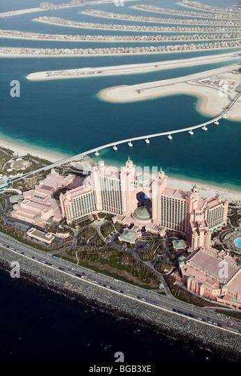 Hotel Atlantis at The Palm from the Air, Dubai, United Arabian Emirates - Stock Image