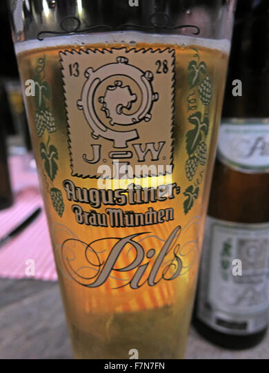Oktoberfest in Munich,Baveria,Germany,Augustiner Brau,Pils,beer glass - Stock Image