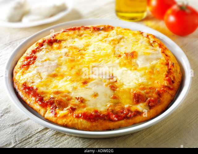Pizza topped with 3 cheeses A Margarita Neopolitan Pizza - Stock Image