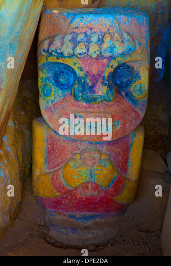 Painted Figure, San Agustin Archaeologcial Park, Colombia, ancient statue 3,000 years old from unknown culture - Stock Image