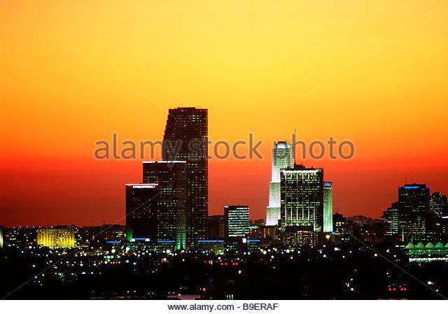Miami skyline at sunset - Stock-Bilder
