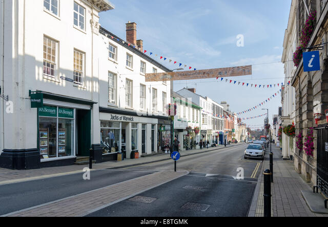 View of shops in High Street, Warwick - Stock Image