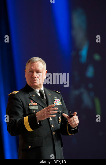 Gen. Frank J. Grass, chief of the National Guard Bureau, addresses an audience during the Air Force Association's - Stock Image