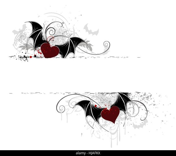 two horizontal banner with artistically painted, hearts, vampire. - Stock-Bilder
