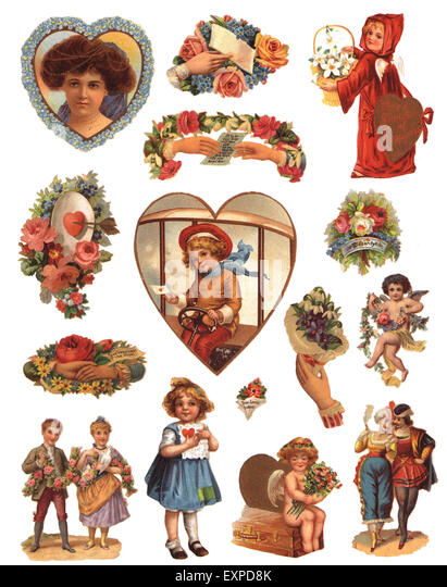 1900s UK Victorian Scraps Book Plate - Stock Image