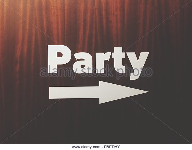 Close-Up Of Party Sign On Curtain - Stock-Bilder