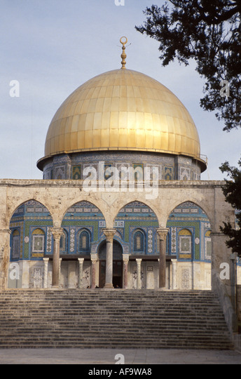 Israel Jerusalem Dome of the Rock Mosque Temple on the Mount Muslim Islam Jew Hebrew - Stock Image