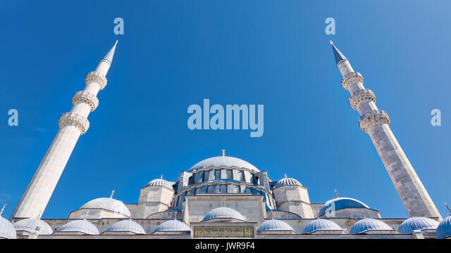 Exterior low angle day shot of domes Suleymaniye Mosque. An Ottoman imperial mosque located on the Third Hill of - Stock Image