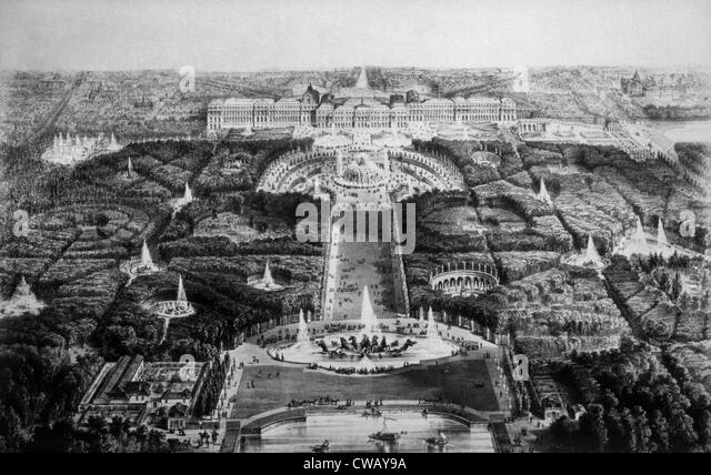 The Palace of Versailles, 19th century. - Stock Image