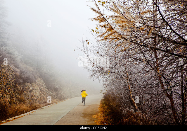 People doing morning exercise in Wuling Mountain, Beijing, China - Stock Image