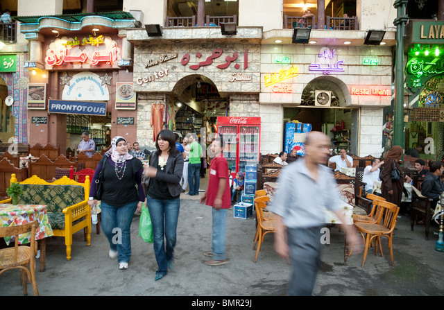 Egyptian people in the Islamic quarter, Cairo, Egypt - Stock Image