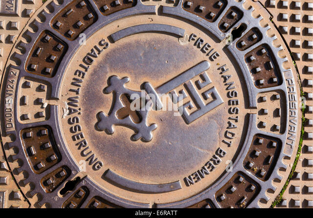 Drain covers with the Bremen key logo. - Stock Image