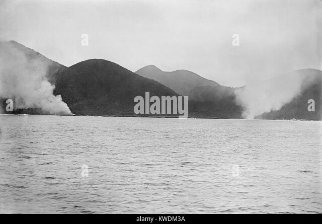 Oquendo and Maria Teresa, aground and burning during the Battle of Santiago, Spanish American War. July 3, 1898. - Stock Image