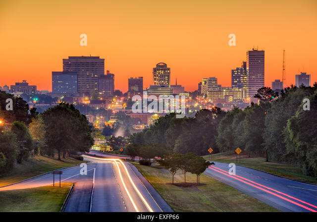 Skyline of downtown Columbia, South Carolina from above Jarvis Klapman Blvd. - Stock Image