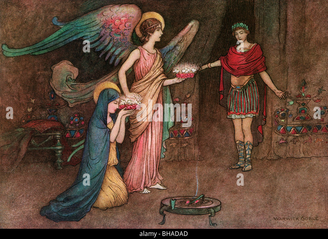 The Angel Presenting the Crowns to Cecily and Valerian, by Warwick Goble, from The Complete Poetical Works of Geoffrey - Stock Image