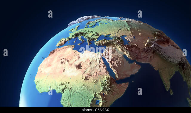Earth globe with exaggerated topological features - Stock-Bilder