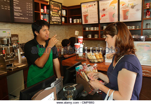 Lima Peru Barranco District Avenida Pedro D'Osma Starbucks Coffee coffee house business American company brand - Stock Image