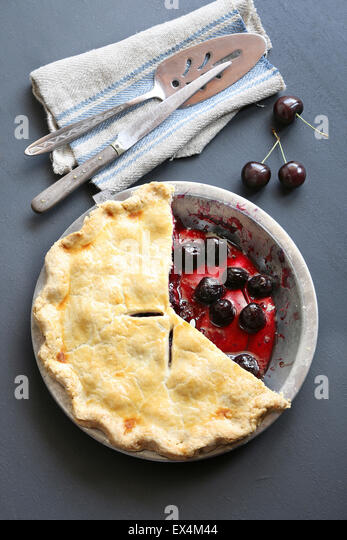 Freshly baked cherry pie - Stock Image