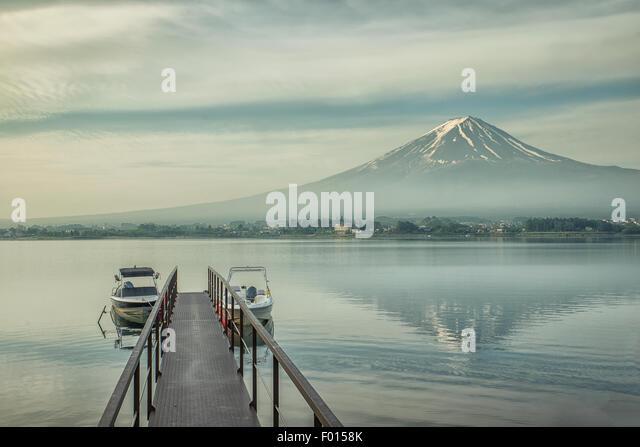 Mt.Fuji and jetty in Kawaguchiko, Japan - Stock Image