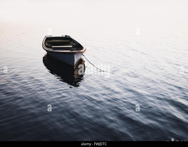 Boat Moored On Lake - Stock Image